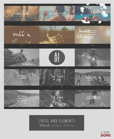 lyrics and elements cartoons after effects templates