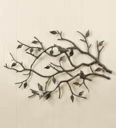 Birds Wall Decor by Indoor Outdoor Cast Iron Bird Branch Wall Metal Wall