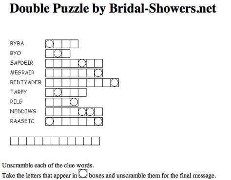 printable bridal shower crossword puzzle bridal shower double puzzle