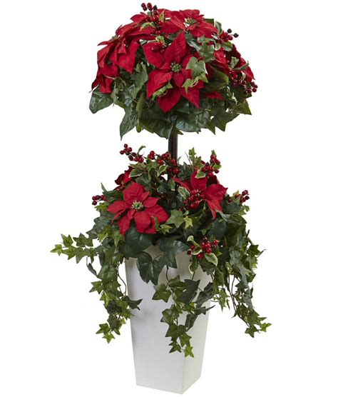 4 poinsettia berry topiary silk tree with decorative