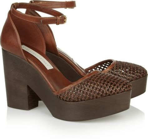 stella mccartney faux leather wedge sandals in brown
