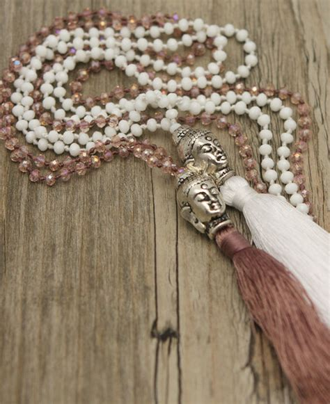 buddha bead necklace silver colored buddha bead necklace with tassel