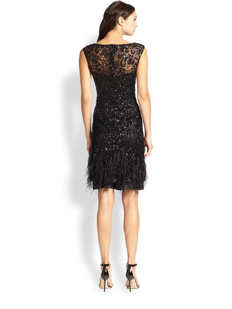 beaded feather dress teri jon beaded feather trim dress in black lyst
