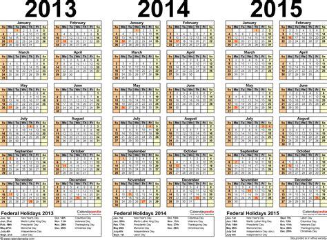 2015 three year calendar free printable templates