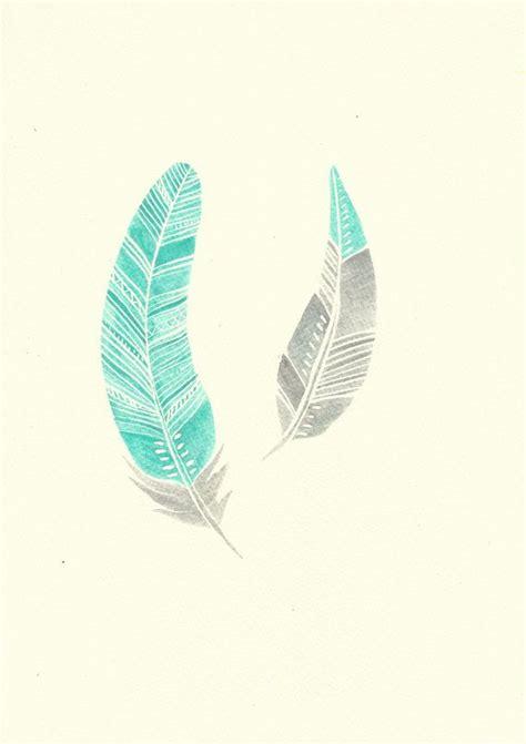 feather tattoo turquoise mint turquoise aqua and grey modern boho feather