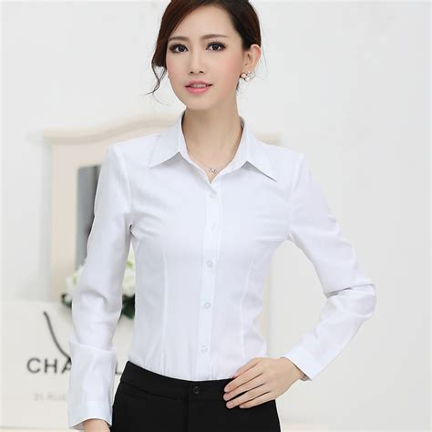 Miniso Womens Fashionable White 2015 new fashion white shirt work wear sleeve tops slim s blouses