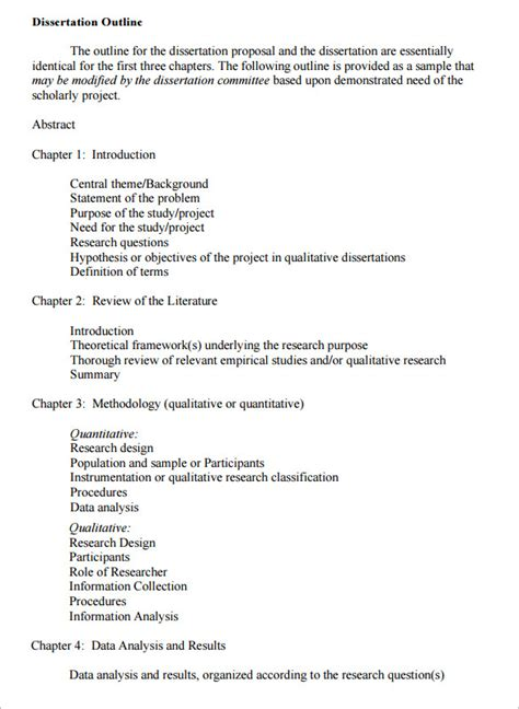 dissertation template dissertation outline template 7 free free word pdf