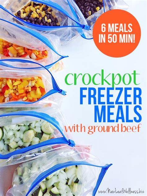 six ground beef crockpot freezer meals in 50 minutes new