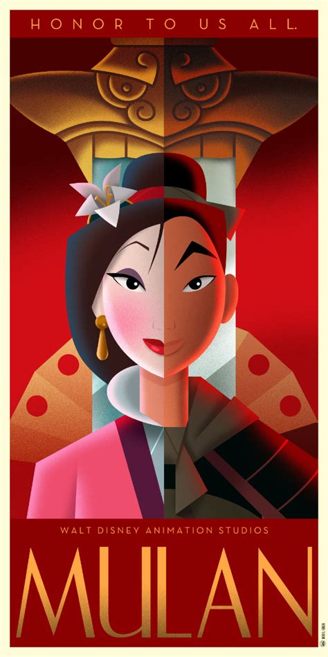 disney art deco posters david  ferrero ilustracion