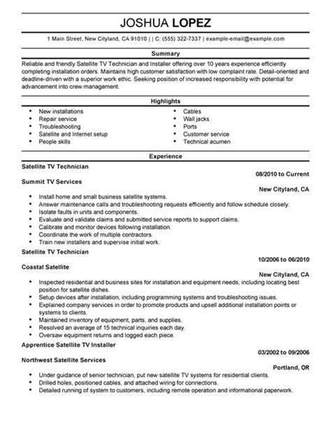 resume exles for customer service skills simple satellite tv technician installer resume exle livecareer