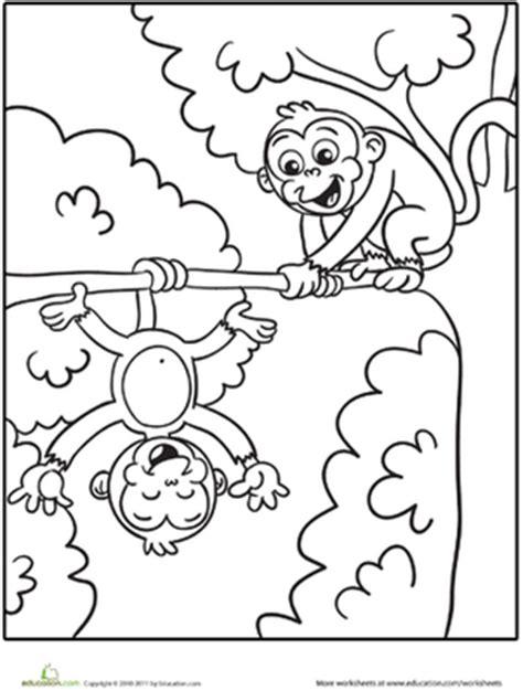 monkey coloring page preschool silly monkeys worksheet education com
