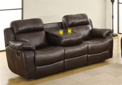 Recliner Sofas With Cup Holders Homelegance Marille Sofa Recliner With Drop Cup Holder Brown Bonded Leather Match