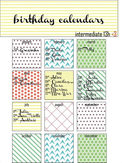 birthday reminder calendar template 21 birthday calendar templates free sle exle