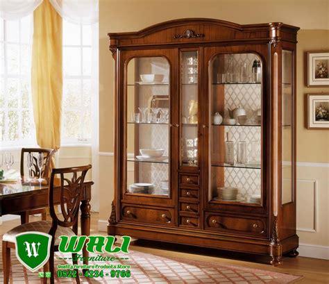 contoh desain lemari pajangan lemari pajangan jati minimalis natural mewah elegan wali