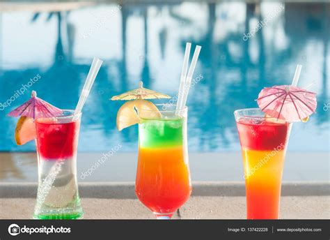 colorful cocktails colored cocktails on a background of water colorful