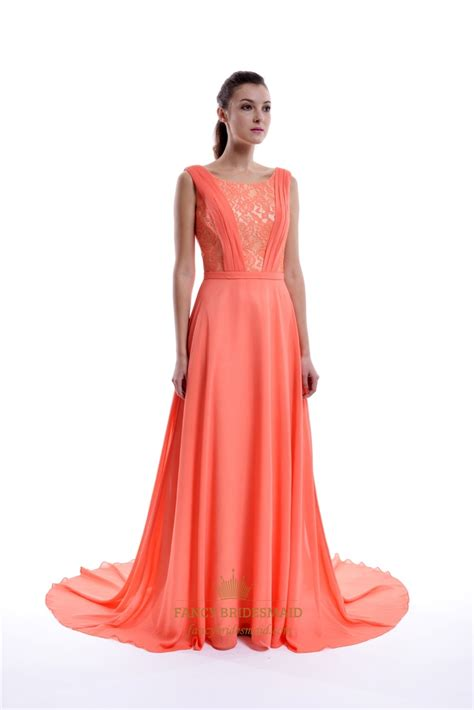 coral low back floor length sleeveless chiffon dress with