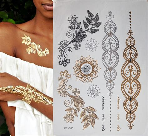 gold henna temporary tattoo fashion gold flash temporary jewelry tattoos