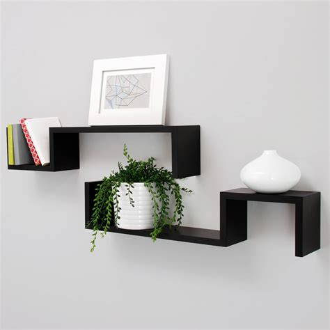 new black finished wood set of 2 wall floating shelf quot s