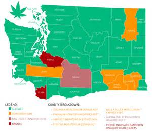 washington recreational marijuana moratorium and ban map