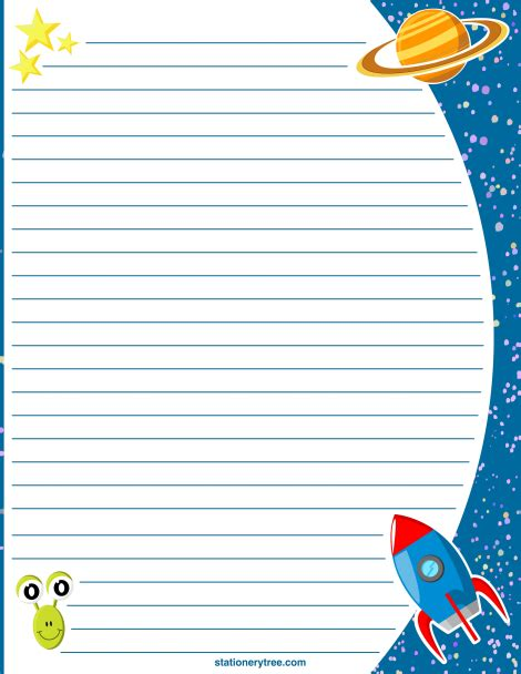 printable writing paper with space for picture printable space stationery and writing paper free pdf
