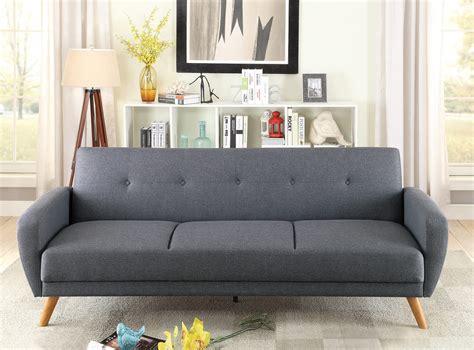 blue gray convertible sofa bed  poundex