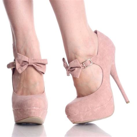 pink bow high heels shoes baby pink high heels bow wheretoget