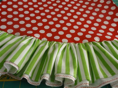 lime and red tree skirt 72 polka dots and lime green stripe whimsical