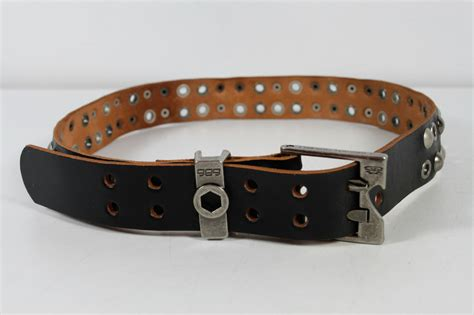 686 black silver studded genuine leather belt ebay
