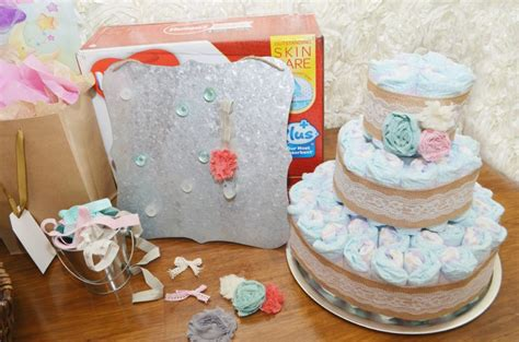shabby chic baby shower vintage lace and burlap diaper