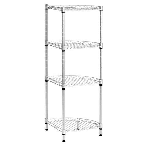4 tier wire shelving rack metal shelf adjustable corner