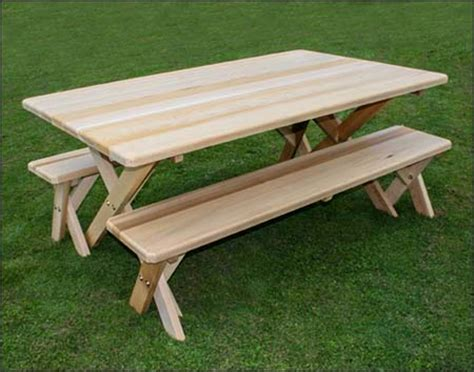 picnic table bench legs 42 quot wide cedar cross legged picnic table w benches