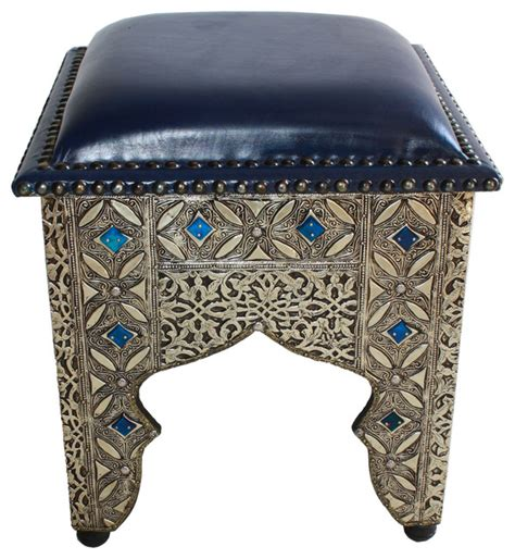 leather and metal ottoman moroccan square leather metal and bone ottoman