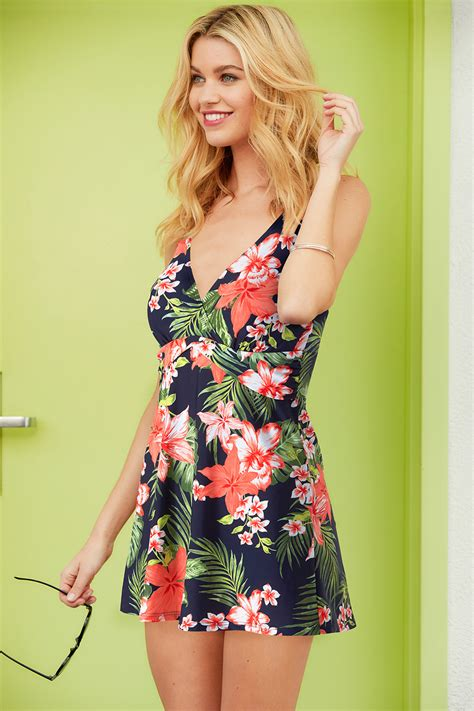 Print Swim Dress tropical print swimdress
