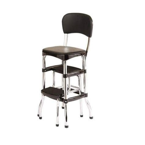 Kitchen Step Stool Chair Kitchen New Vintage Kitchen Retro Chair Bar Step Stool Black Ebay