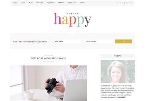 cute themes wordpress free pretty happy colorful feminine ecommerce wordpress theme