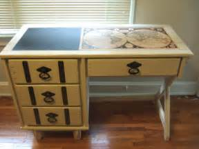 Decoupage A Desk - vintage painted desk with decoupage map by essex cottage