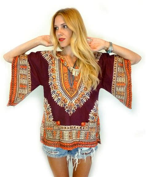 Hippie Top by Vtg 70s Eastern Boho Bell Sleeve Tunic Blouse S