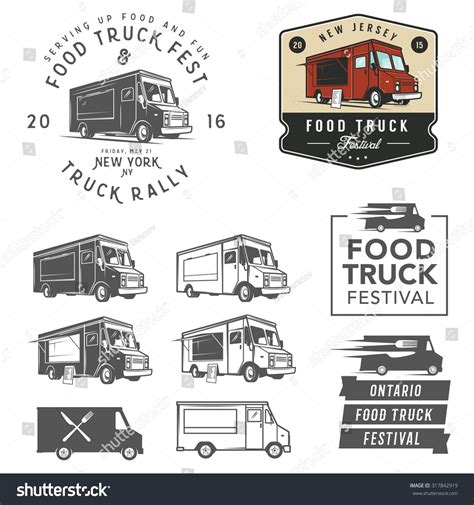 food truck design elements et food truck festival emblems badges stock vector