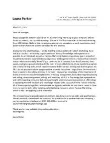 internship cover letter lim college mps student