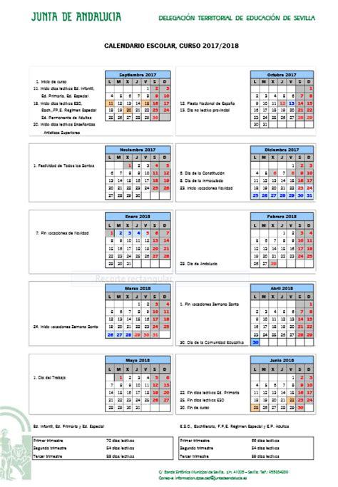 Calendario 2018 Andalucia Calendario Escolar Sevilla Curso 2017 2018 Papanoara