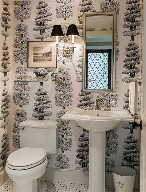 wallpaper for powder room always on trend 20 powder rooms in black and white