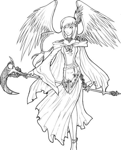 anime angel girl coloring pages angel of death lineart by xxkawaiitwiggee on deviantart