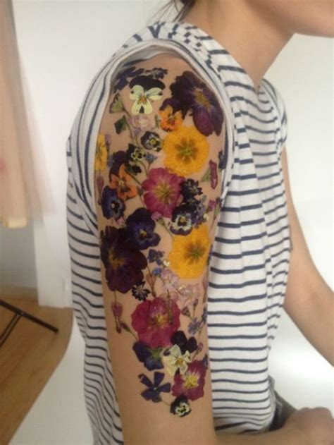 pressed flower tattoo best tattoos diy temporary flower by makeup