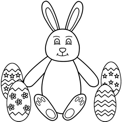 Easter bunny sitting with easter eggs coloring page easter