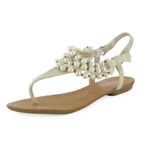 pearl flat sandals patent pearl flat sandals new sizes 3 8 uk ebay