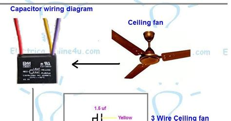 4 wire fan switch color code ceiling fan 3 wire capacitor wiring diagram electrical