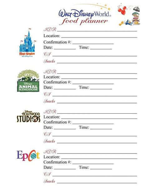 printable disney world planner disney world planning printables calendar template 2016