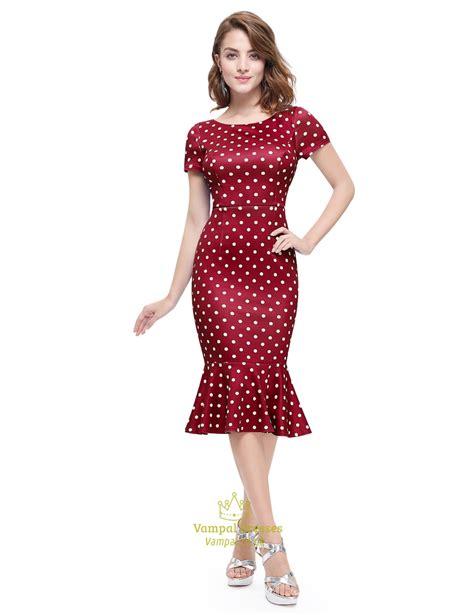 Dot Sleeve Dress polka dot mermaid sleeve sheath casual summer dress