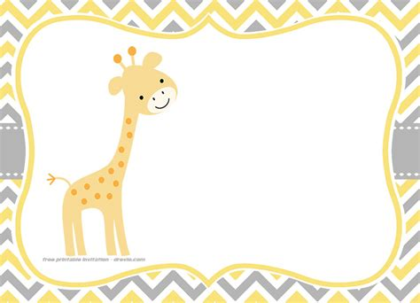 giraffe baby shower invitations template free giraffe birthday and baby shower invitation templates