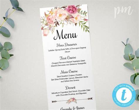 Come With Me Engagement Menu Part 2 by Wedding Menu Template Printable Menu Floral Wedding Menu